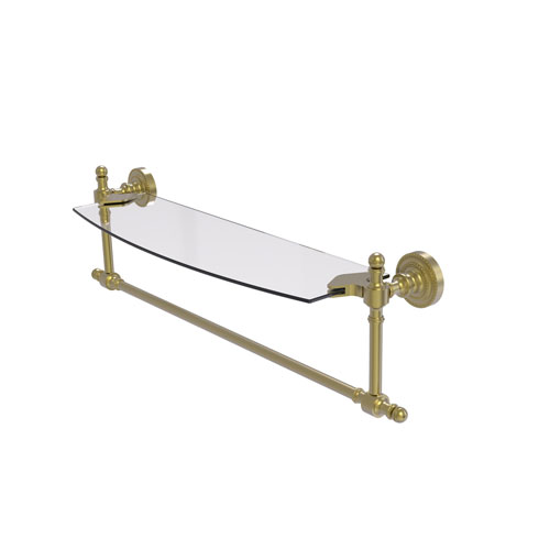 Retro Dot Satin Brass 18-Inch Glass Vanity Shelf with Integrated Towel Bar
