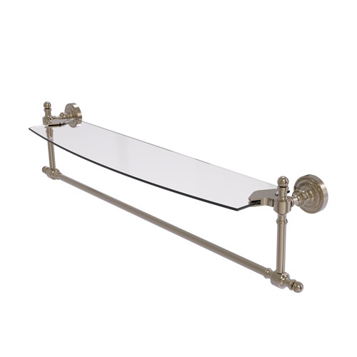 Retro Dot Antique Pewter 24-Inch Glass Vanity Shelf with Integrated Towel Bar