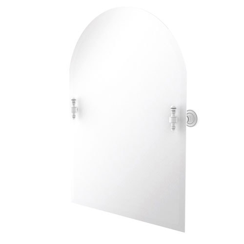 Retro Dot Matte White 21-Inch Frameless Arched Top Tilt Mirror with Beveled Edge