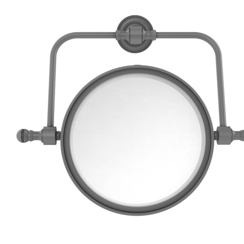Retro Dot Matte Gray Seven-Inch Wall Mounted Swivel Make-Up Mirror with 2X Magnification