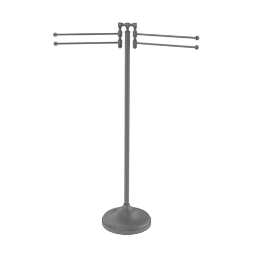 Retro Dot Matte Gray 11-Inch Towel Stand with Four-Pivoting Swing Arms