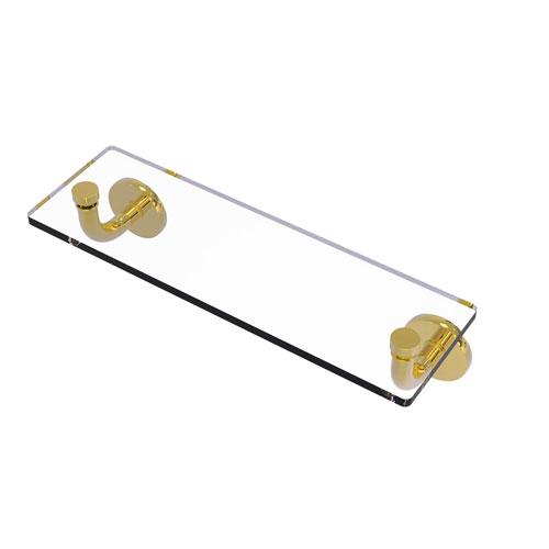 Remi Polished Brass 16-Inch Glass Vanity Shelf with Beveled Edges