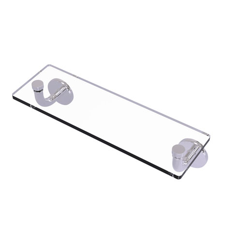 Remi Polished Chrome 16-Inch Glass Vanity Shelf with Beveled Edges