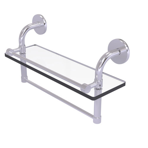 Remi Satin Chrome 16-Inch Glass Shelf with Towel Bar