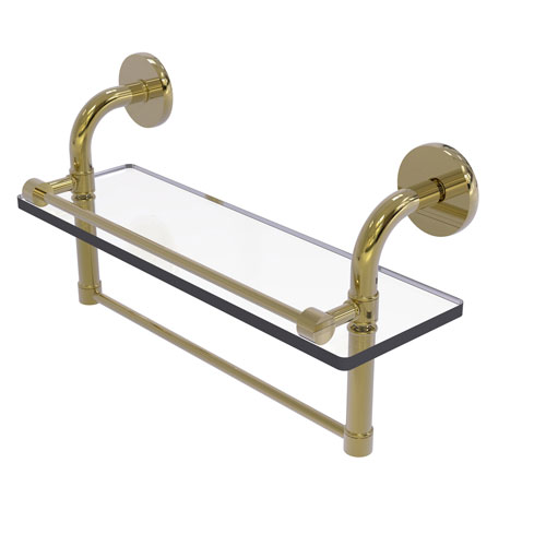 Remi Unlacquered Brass 16-Inch Glass Shelf with Towel Bar