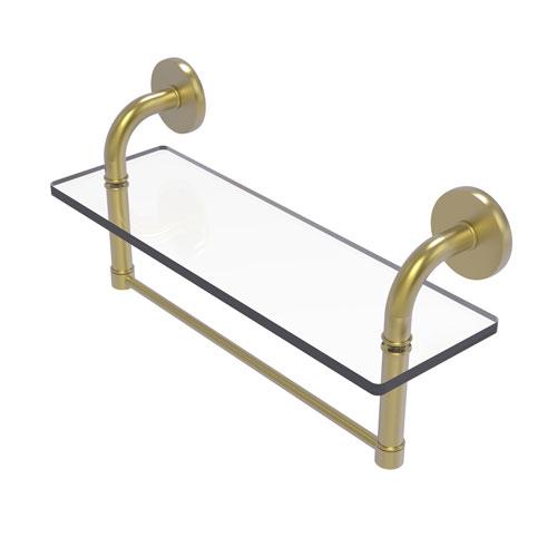 Remi Satin Brass 16-Inch Glass Vanity Shelf with Integrated Towel Bar