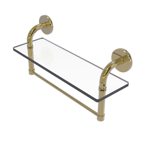 Remi Unlacquered Brass 16-Inch Glass Vanity Shelf with Integrated Towel Bar