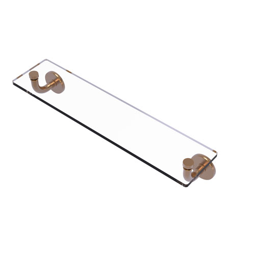 Remi Brushed Bronze 22-Inch Glass Vanity Shelf with Beveled Edges