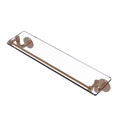 Remi Brushed Bronze 22-Inch Glass Vanity Shelf with Gallery Rail