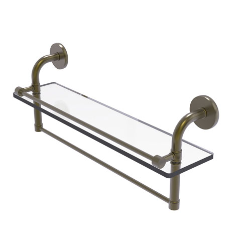 Remi Antique Brass 22-Inch Glass Shelf with Towel Bar