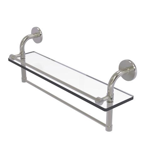 Remi Satin Nickel 22-Inch Glass Shelf with Towel Bar