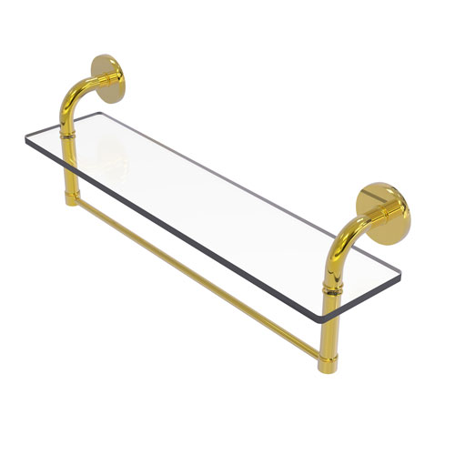 Remi Polished Brass 22-Inch Glass Vanity Shelf with Integrated Towel Bar