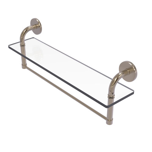 Remi Antique Pewter 22-Inch Glass Vanity Shelf with Integrated Towel Bar