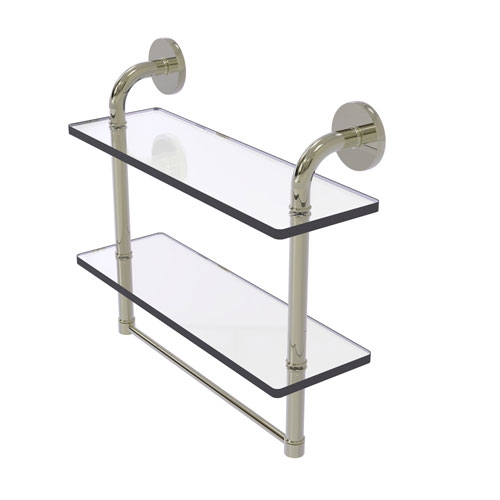 Remi Polished Nickel 16-Inch Two Tiered Glass Shelf with Integrated Towel Bar