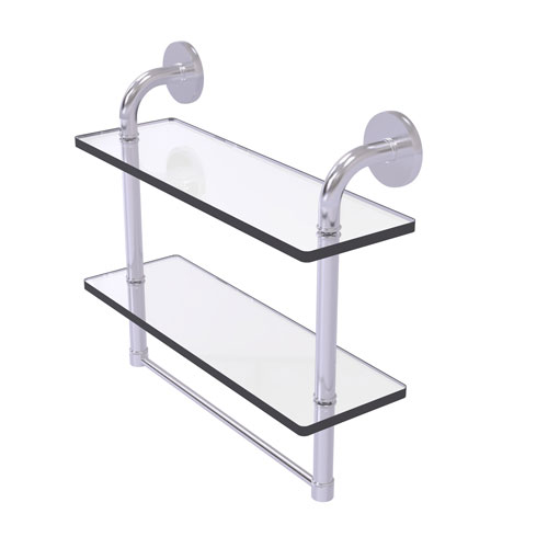 Remi Satin Chrome 16-Inch Two Tiered Glass Shelf with Integrated Towel Bar
