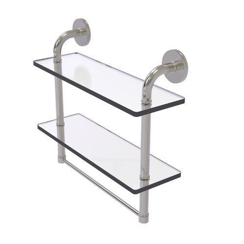 Remi Satin Nickel 16-Inch Two Tiered Glass Shelf with Integrated Towel Bar