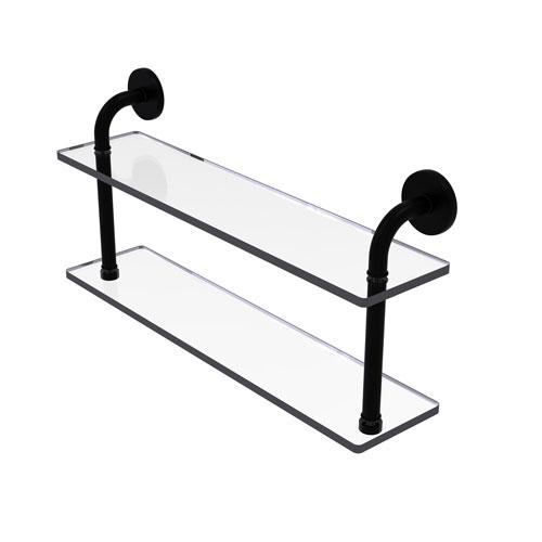 Remi Matte Black 22-Inch Two Tiered Glass Shelf