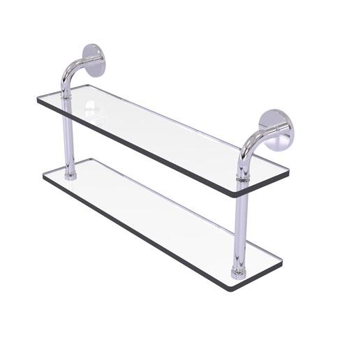 Remi Polished Chrome 22-Inch Two Tiered Glass Shelf