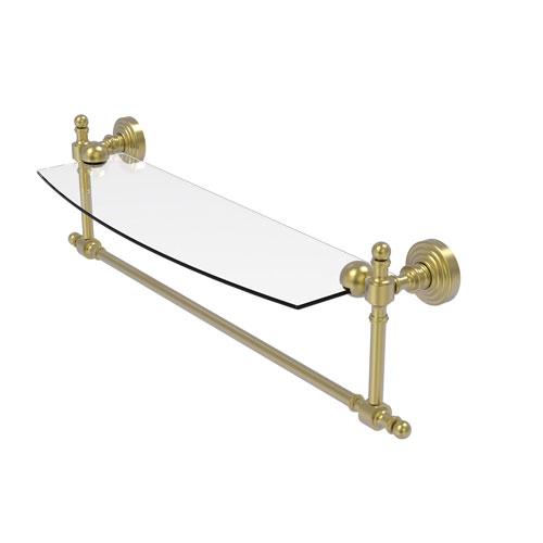 Retro Wave Satin Brass 18-Inch Glass Vanity Shelf with Integrated Towel Bar