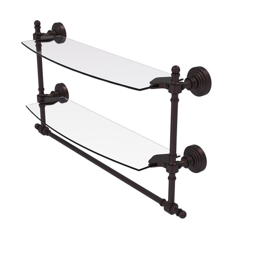 Retro Wave Antique Bronze 18-Inch Two Tiered Glass Shelf with Integrated Towel Bar