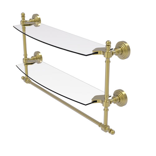 Retro Wave Satin Brass 18-Inch Two Tiered Glass Shelf with Integrated Towel Bar