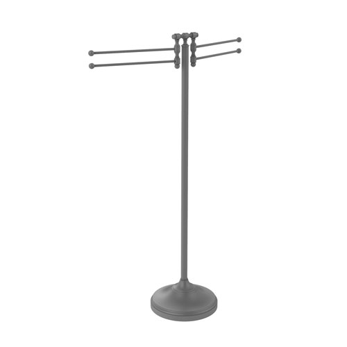 Retro Wave Matte Gray 11-Inch Towel Stand with Four-Pivoting Swing Arms