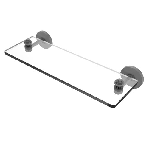 Southbeach Matte Gray 16-Inch Glass Vanity Shelf with Beveled Edges