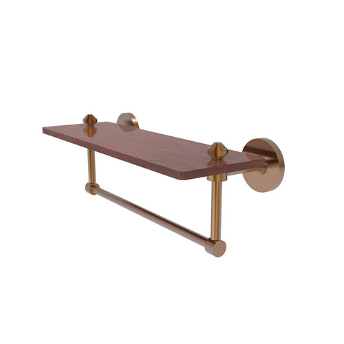 Southbeach Brushed Bronze 16-Inch Solid IPE Ironwood Shelf with Integrated Towel Bar