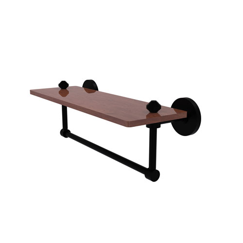 Southbeach Matte Black 16-Inch Solid IPE Ironwood Shelf with Integrated Towel Bar
