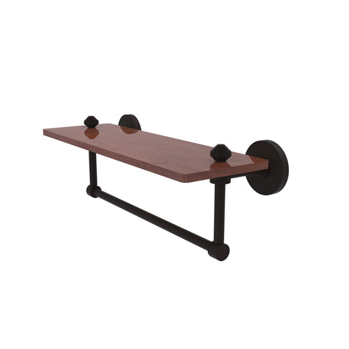 Southbeach Oil Rubbed Bronze 16-Inch Solid IPE Ironwood Shelf with Integrated Towel Bar