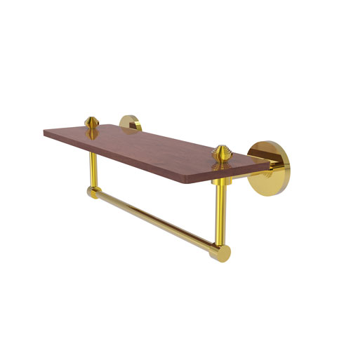 Southbeach Polished Brass 16-Inch Solid IPE Ironwood Shelf with Integrated Towel Bar