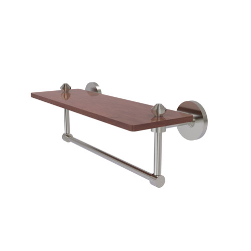 Southbeach Satin Nickel 16-Inch Solid IPE Ironwood Shelf with Integrated Towel Bar