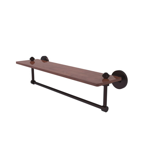 Southbeach Antique Bronze 22-Inch Solid IPE Ironwood Shelf with Integrated Towel Bar