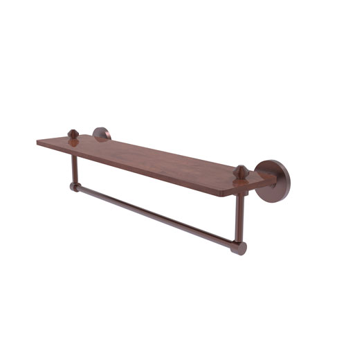 Southbeach Antique Copper 22-Inch Solid IPE Ironwood Shelf with Integrated Towel Bar