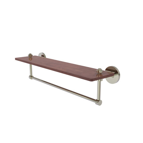 Southbeach Polished Nickel 22-Inch Solid IPE Ironwood Shelf with Integrated Towel Bar