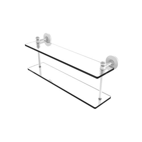 Southbeach Matte White 22-Inch Two Tiered Glass Shelf