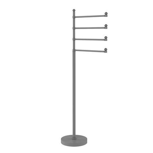 Southbeach Matte Gray Eight-Inch Free Standing Four-Pivoting Swing Arm Towel Stand