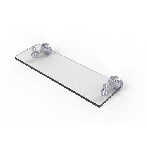 Sag Harbor Satin Chrome 16-Inch Glass Vanity Shelf with Beveled Edges