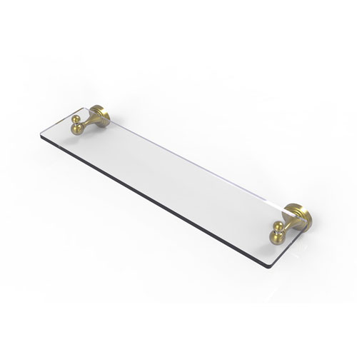 Sag Harbor Satin Brass 22-Inch Glass Vanity Shelf with Beveled Edges