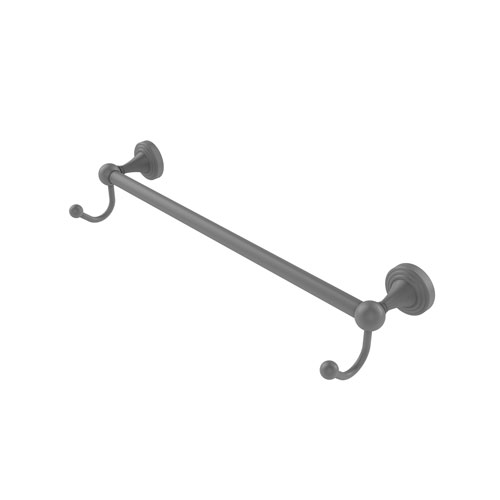 Sag Harbor Matte Gray 30-Inch Towel Bar with Integrated Hooks