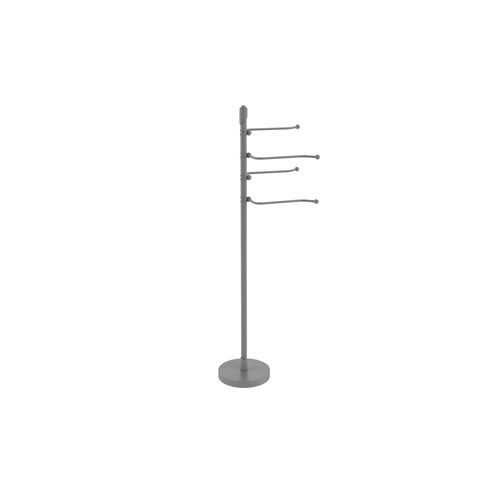 Soho Matte Gray Eight-Inch Free Standing Four-Pivoting Swing Arm Towel Stand