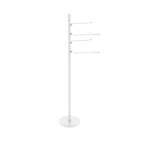 Soho Matte White Eight-Inch Free Standing Four-Pivoting Swing Arm Towel Stand