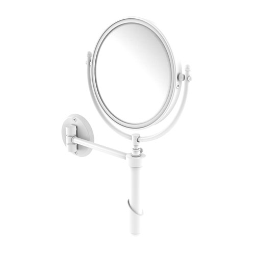Soho Matte White Eight-Inch Wall Mounted Make-Up Mirror with 2X Magnification