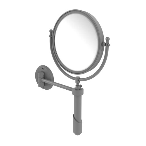 Soho Matte Gray Eight-Inch Wall Mounted Make-Up Mirror with 3X Magnification