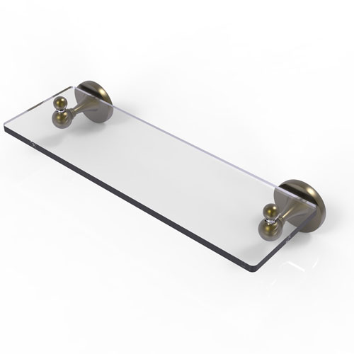 Shadwell Antique Brass 16-Inch Glass Vanity Shelf with Beveled Edges