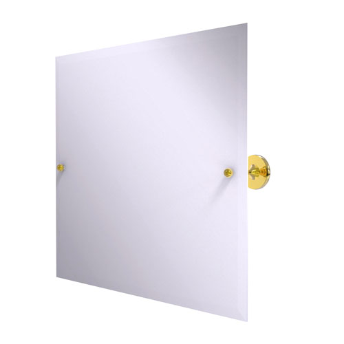 Shadwell Polished Brass 22-Inch Frameless Landscape Rectangular Tilt Mirror with Beveled Edge