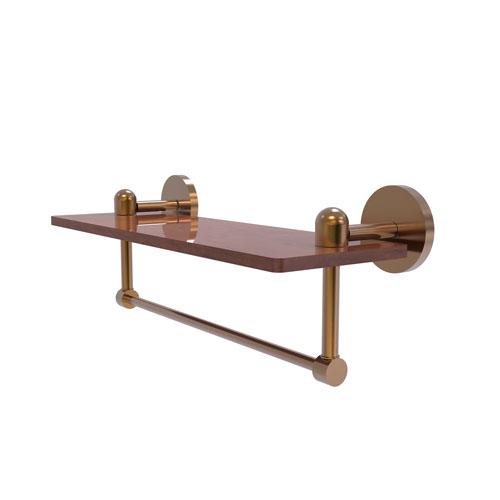 Tango Brushed Bronze 16-Inch Solid IPE Ironwood Shelf with Integrated Towel Bar