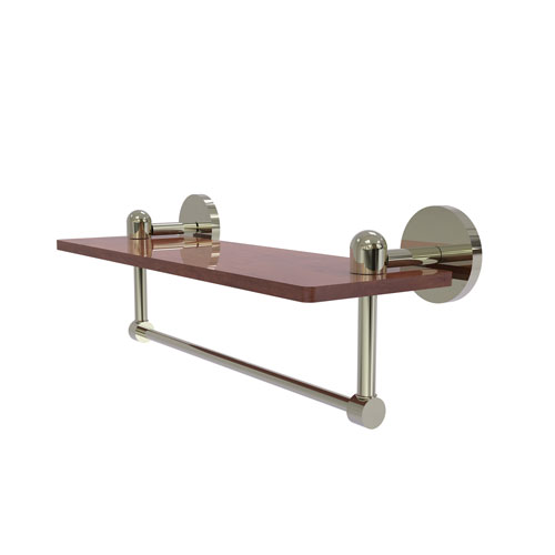 Tango Polished Nickel 16-Inch Solid IPE Ironwood Shelf with Integrated Towel Bar
