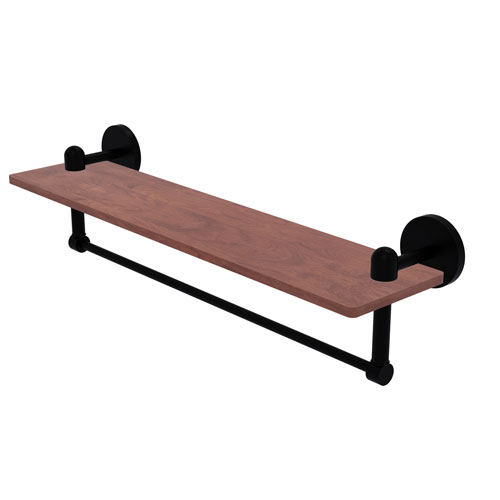Tango Matte Black 22-Inch Solid IPE Ironwood Shelf with Integrated Towel Bar