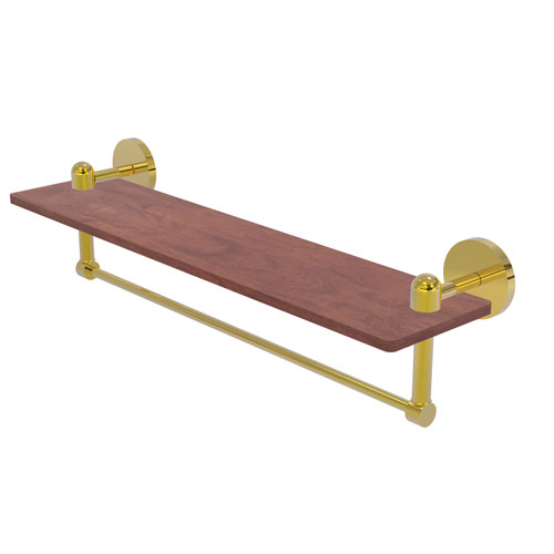 Tango Polished Brass 22-Inch Solid IPE Ironwood Shelf with Integrated Towel Bar